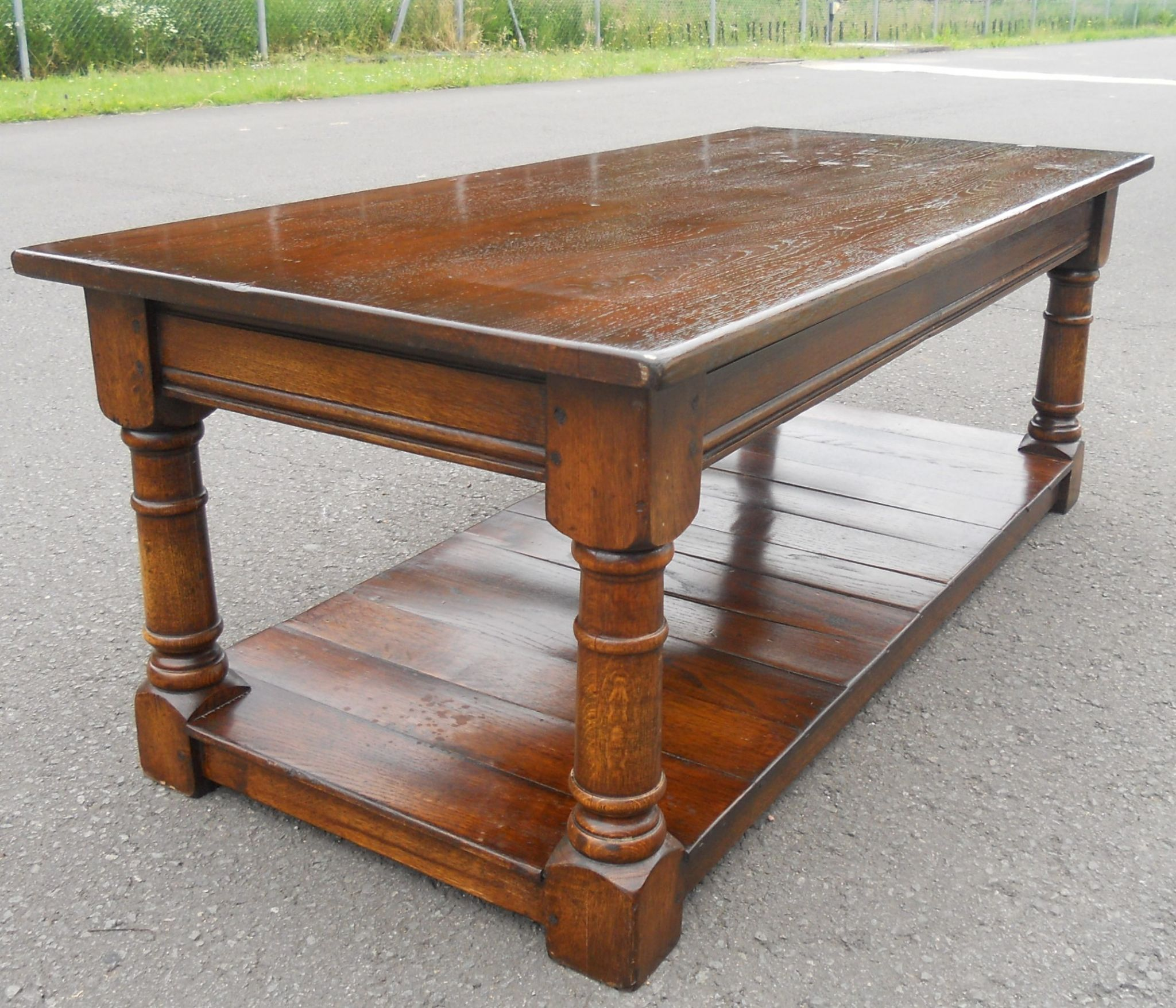 Long Antique Style Oak Coffee Table